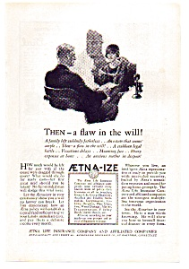 Aetna Life Insurance Ad 1924 (Image1)