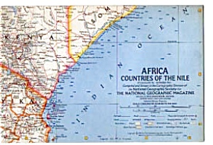 Africa ,countries Of The Nile Map Oct 1963
