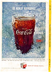 Coca Cola Glass In Ice Ad Auc3317 June 1959