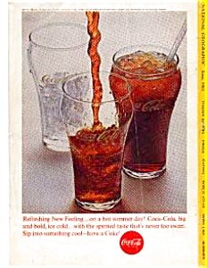Coca Cola Three Glasses Ad Auc3327 June 1963