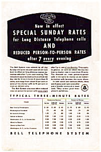 Bell Telephone Sunday And Evening Rates Ad Auc3513