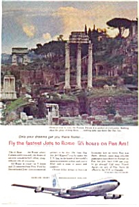 Pan Am Fastest Jets To Rome Ad Auc3609