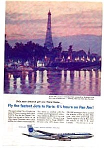 Pan Am Jet Clipper To Paris Ad Auc3714