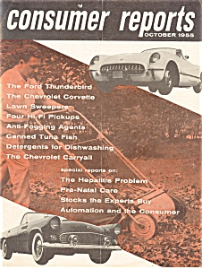 Consumer Reorts 1955 Tbird Corvette Article