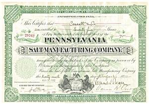 PA Salt Manufacturing Co Stock Certificate 1932 b0717 (Image1)
