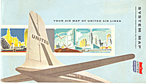 United Airlines System Map Ca 1950s Bk0044