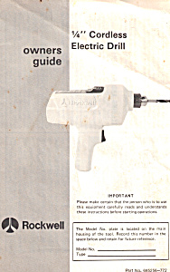Rockwell 1/4 Cordless Electric Drill Manual