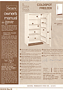 Sears Coldspot Freezer 2552 Manual (Image1)