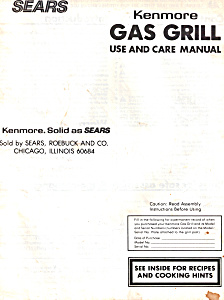 Sears Kenmore Gas Grill Manual (Image1)
