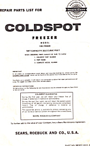 Sears Coldspot Freezer  Manual (Image1)
