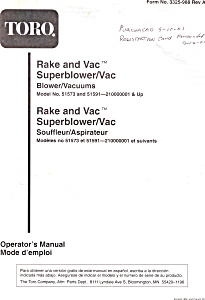 Toro Rake and Vac Superblower Vac  Manual bk0098 (Image1)