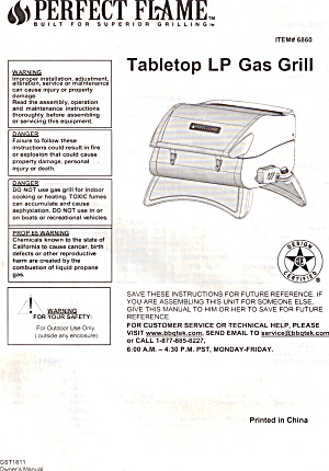 Perfect Flame Tabletop LP Gas Grill Manual bk0259 (Image1)