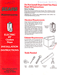 Sears Kenmore Electric Dryer  Instructions (Image1)