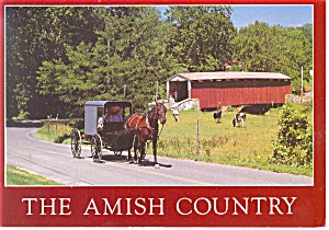 Amish Buggy and Covered Bridge Postcard cs0115 (Image1)