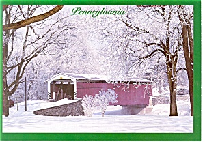 PA Covered Bridge in Winter Postcard (Image1)