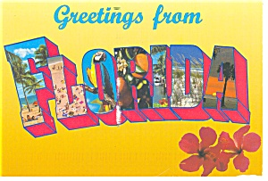 Big Letter Greetings From Florida Postcard Cs0140