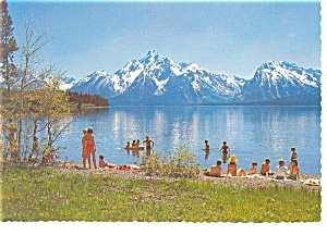 Swimming Beach at Colter Bay Village WY Postcard cs0185 (Image1)