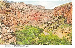 Entrance to Shell Creek Canyon WY Postcard cs0193 (Image1)