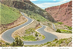 Switchbacks in Shell Creek Canyon WY Postcard cs0196 (Image1)