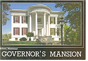 Jackson, MS, Governor's Mansion Postcard (Image1)
