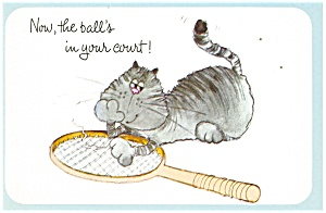 Cat with Tennis Racquet Greetings Postcard (Image1)