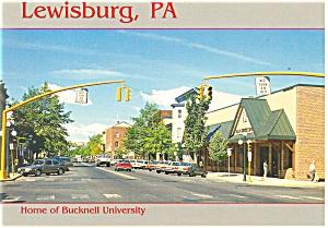 Lewisburg PA  View Market St Vintage Cars Postcard cs0466 (Image1)
