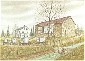 Amish Farm Dutch Art Painting Jay McVey Postcard cs0493 (Image1)