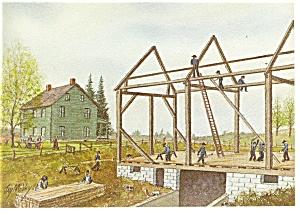 Barn Raising Dutch Art Painting Jay McVey Postcard cs0495 (Image1)