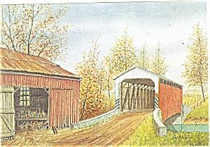 Barn Bridge Dutch Art Painting Jay McVey Pcard cs0497 (Image1)