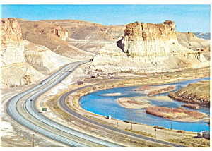 Green River Wy The Palisades Toll Gate Rock Postcard Cs0544