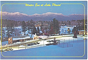 Winter Eve at Lake Placid NY Postcard cs0599 (Image1)