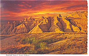 Badlands Sunset,SD Postcard (Image1)