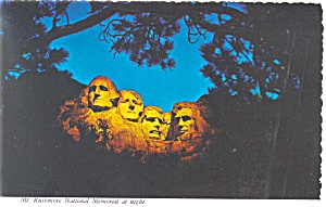 Mt Rushmore at Night,SD Postcard (Image1)