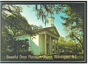 Wilmington Nc Orton Plantation Church Postcard Cs0635 1986