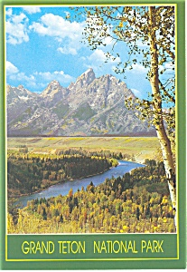 Snake River and Teton Range WY  Postcard cs0671 1987 (Image1)