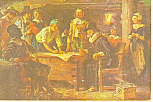 The Mayflower Compact Painting Postcard cs0886 1972 (Image1)
