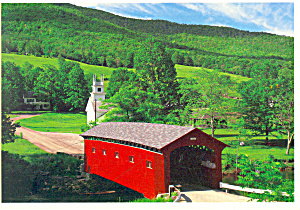 Country Scene Covered Bridge Postcard 1991 (Image1)