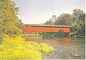 Red Covered Bridge Millmont Pa Postcard Cs0935