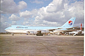 Korean Air 747-2B5B HL-7458  Postcard cs10083 (Image1)