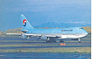 Korean Air 747-2B5B HL-7443  Postcard cs10086 (Image1)