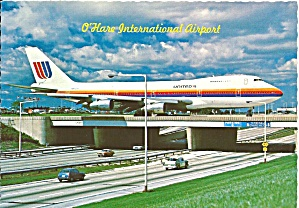 Chicago Il O Hare Airport 747 On Overpass Postcard Cs10108