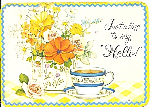 Postcard with Coffee Cup and Flowers cs10317 (Image1)