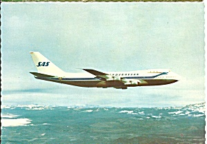 Sas Scandinavian 747 In Flight Postcard Cs10365