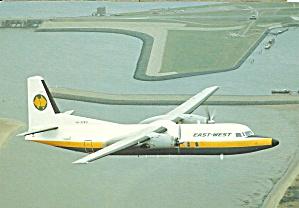 East West Airlines F-27-500 VH-EWU postcard cs10384 (Image1)