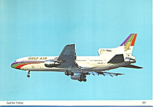 Gulf Air L-1011 On Final Postcard Cs10421