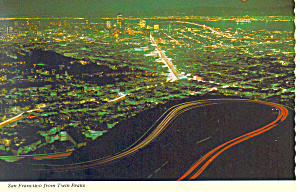 San Francisco CA From Twin Peaks Postcard cs1054 1971 (Image1)
