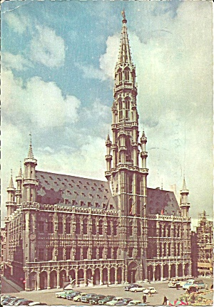 Brussels Belgium Marketplace Town Hall Postcard Cs10595