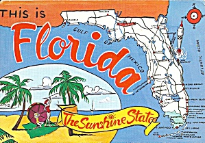 Florida State Map Postcard Cs10839