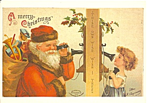 Santa Talking To Child On Old Time Phone Cs11170
