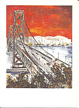 San Francisco Bay Bridge From Painting Postcard Cs11187